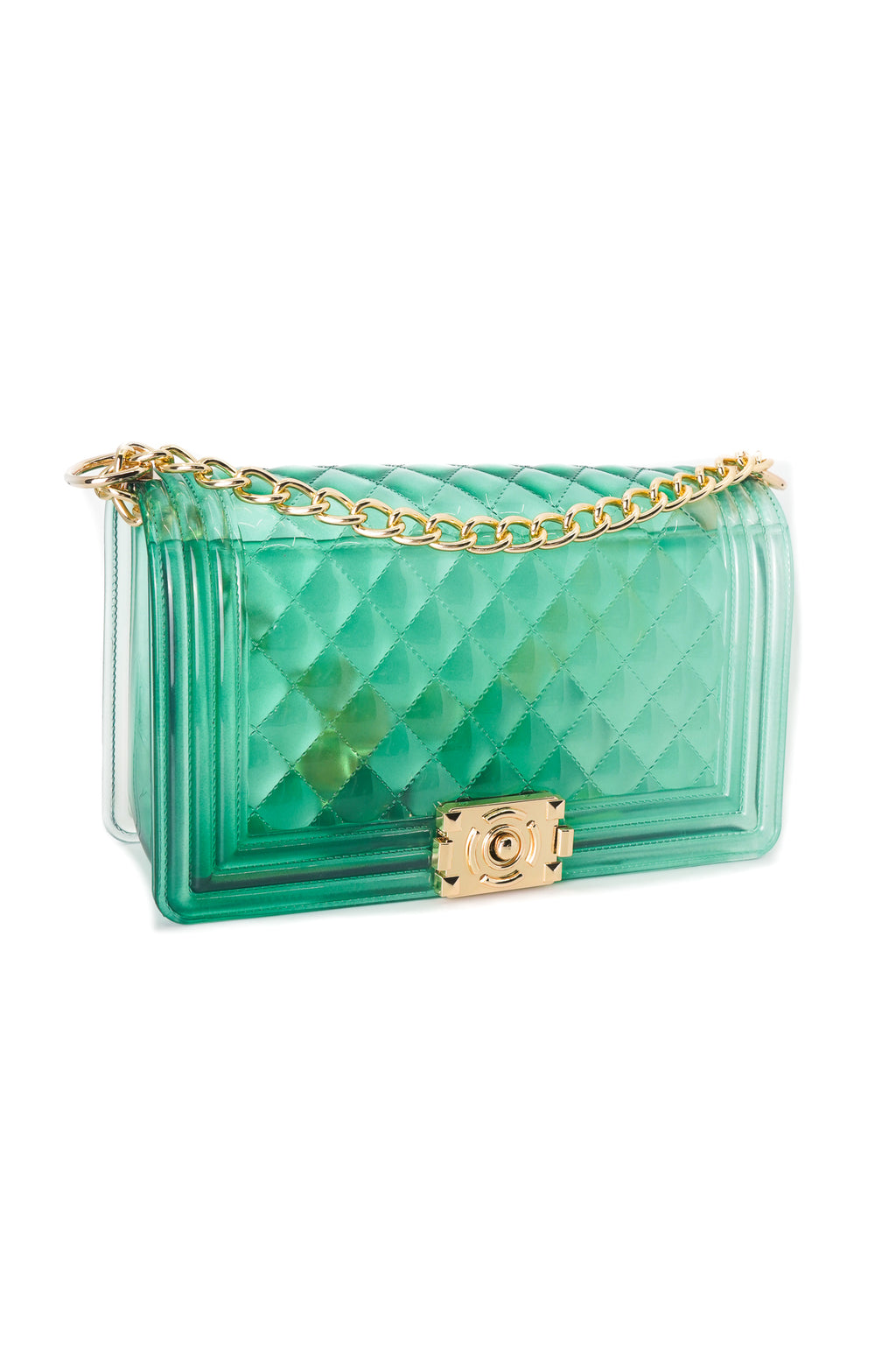 Green Clear Color Quilted Jelly Crossbody Shoulder Bag with Metal Chain Strap