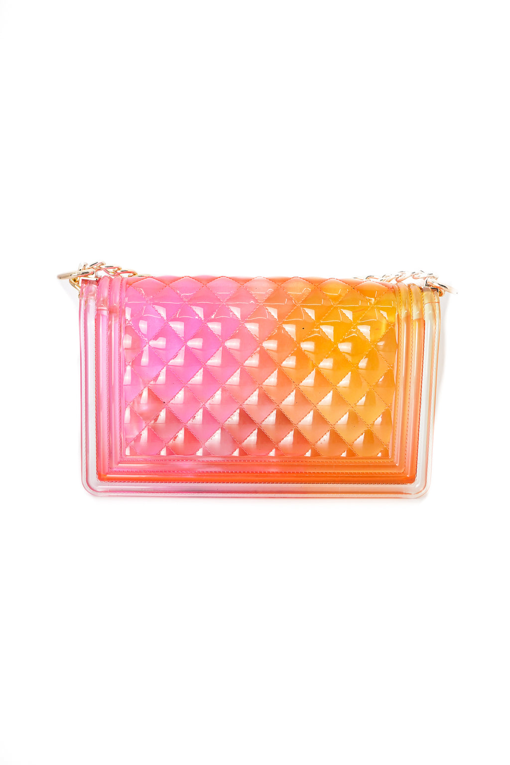Two Tone Orange and Pink Clear Color Quilted Jelly Crossbody Shoulder Bag with Metal Chain Strap