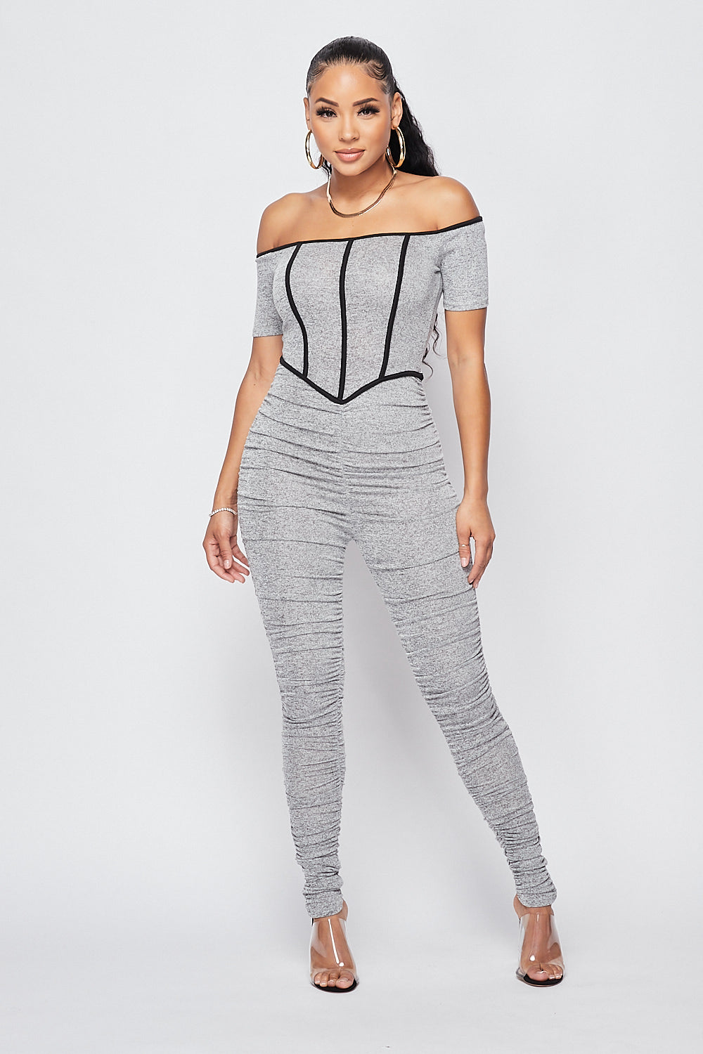 Sexy Off Shoulder Ruched Jumpsuit - Fashion House USA