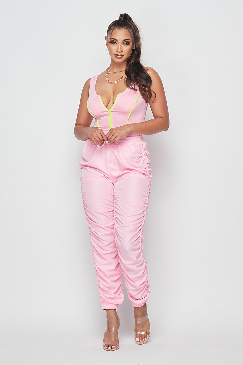 Zipper Contrast Sleeveless Bodysuit-PINK - Fashion House USA