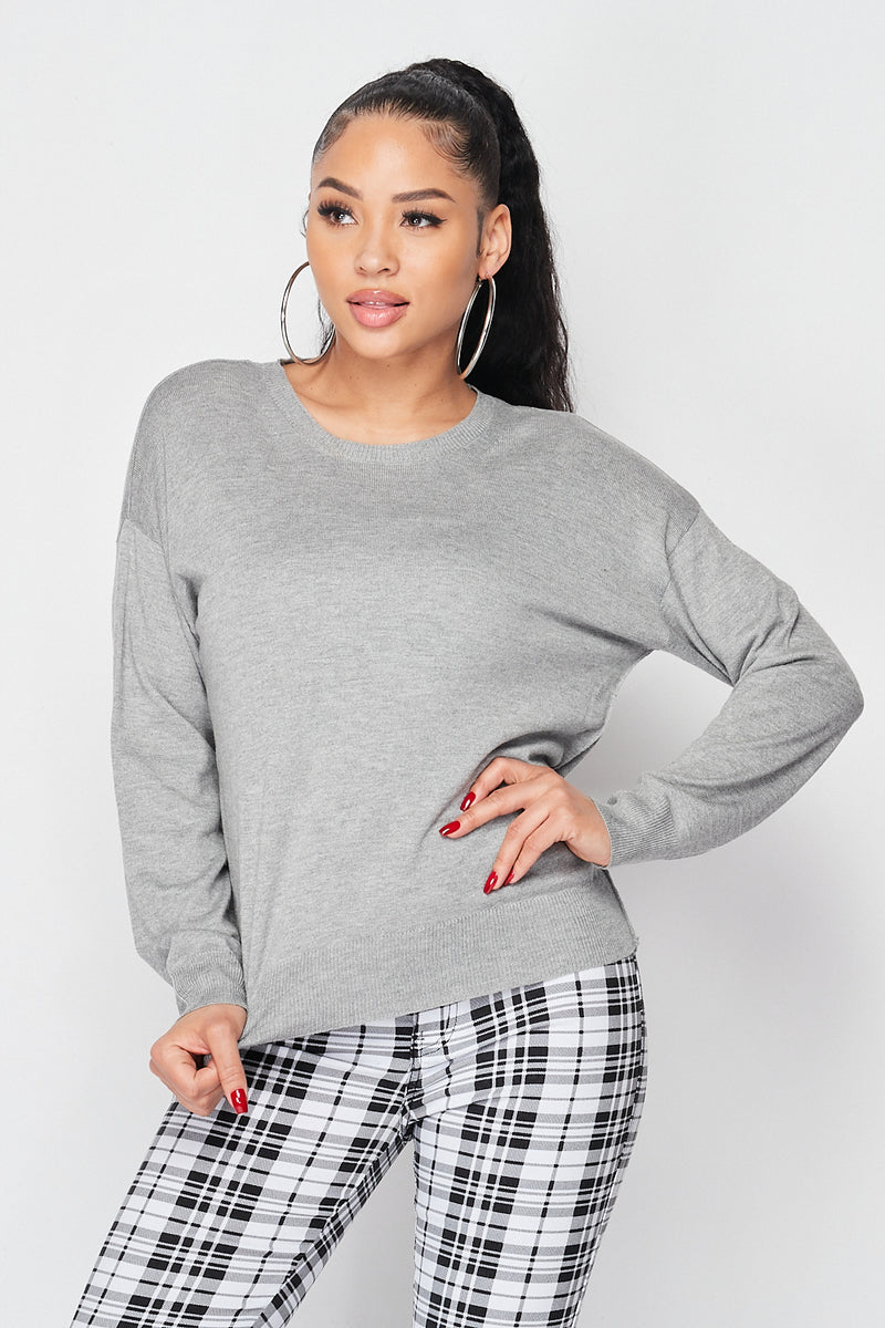 Plain Long Sleeve Knit Sweater in Grey - Fashion House USA