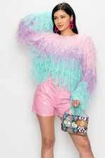 Color Block Faux Feather Top - Fashion House USA