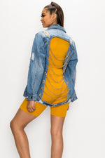Distressed Chain Denim Jacket - Fashion House USA