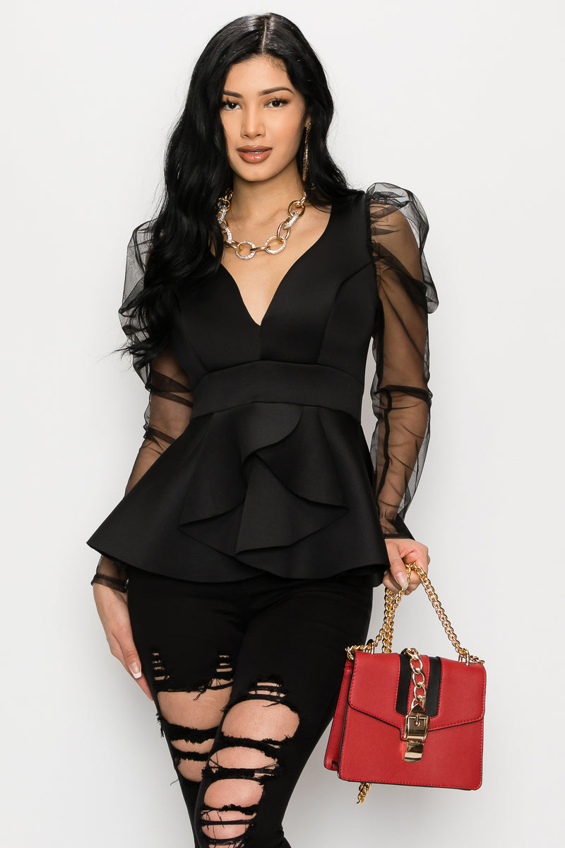 Sheer Puff Sleeve Tulip Top-BLACK - Fashion House USA