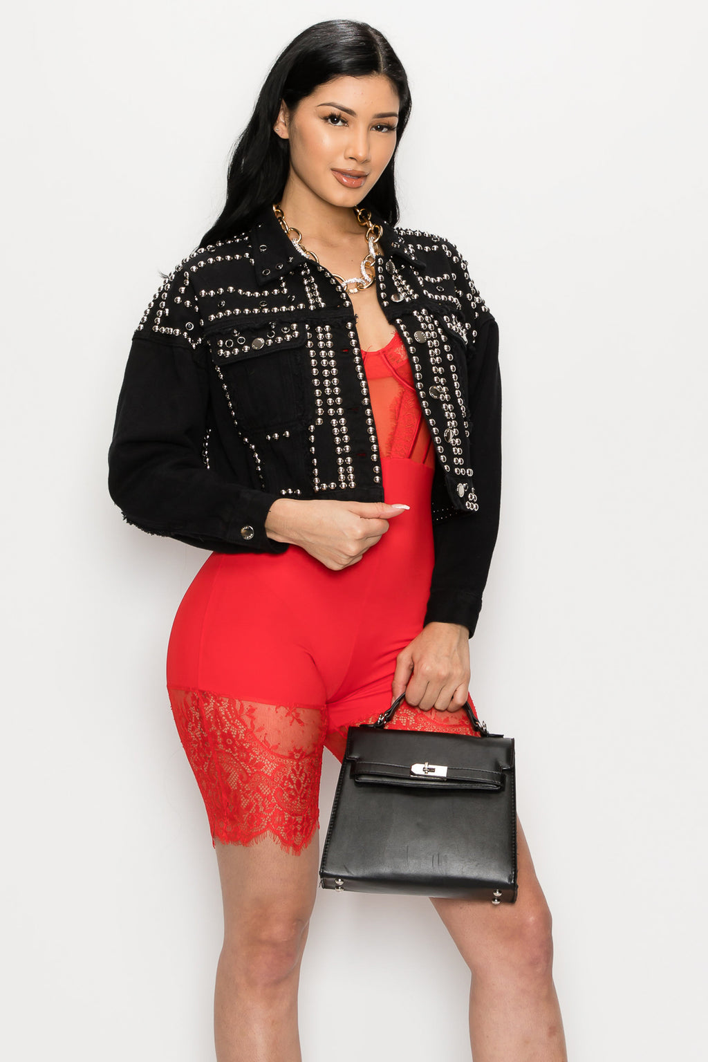 Keep You Stud Jacket-BLACK - Fashion House USA