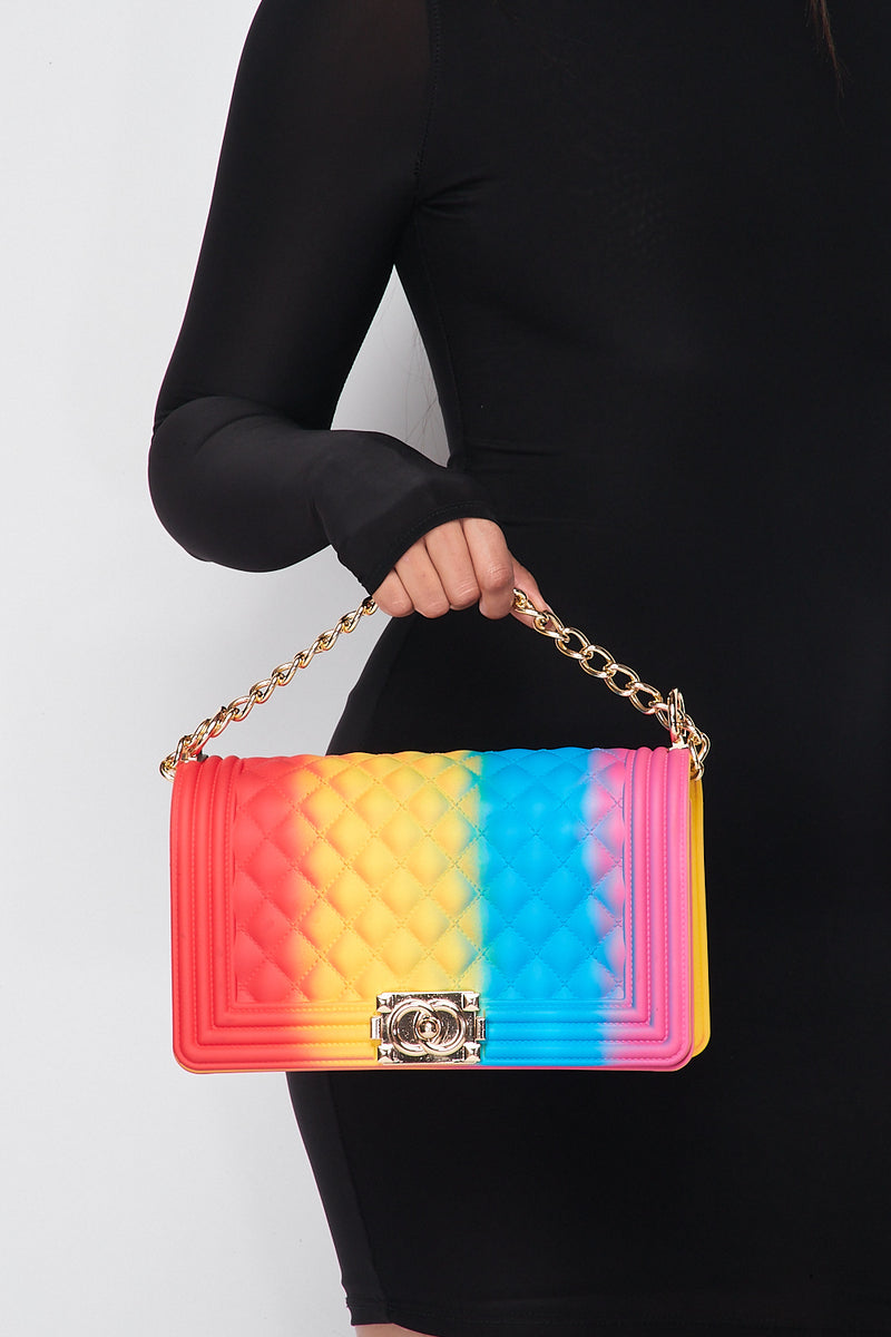 Tie-Dye Quilted Chain Cross Body Shoulder Bag Red/Yellow/Blue/Fuchsia - Fashion House USA