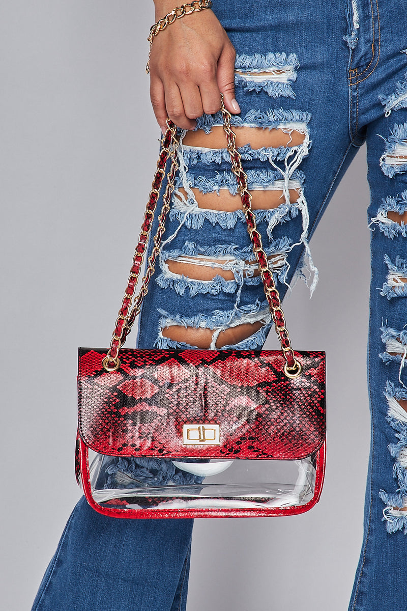 Snake Print Faux Leather Clear Crossbody Bag-RED - Fashion House USA
