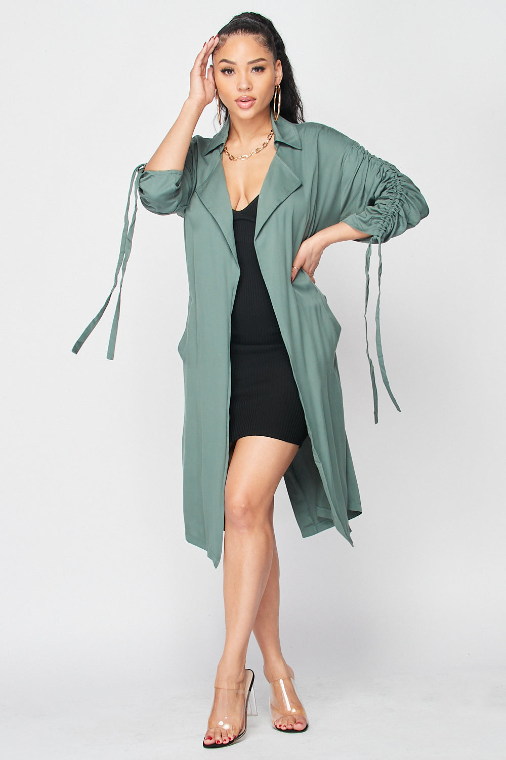 Belted French Jacket with Ruched Sleeved with Pockets in Hunter Green - Fashion House USA