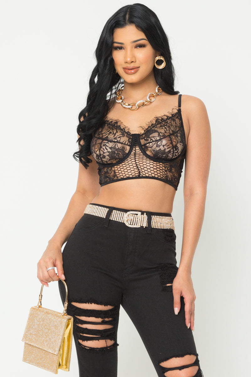 All Laced Bralette-BLACK - Fashion House USA