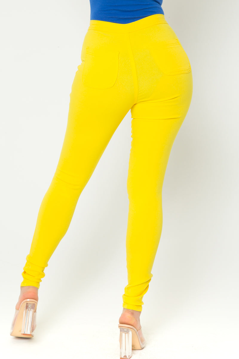 Casual Day Skinny Pants in Yellow - Fashion House USA