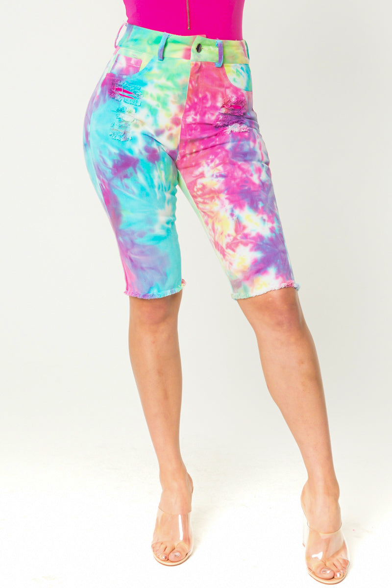 Rainbow Tie-Dye Bermuda Shorts - Fashion House USA