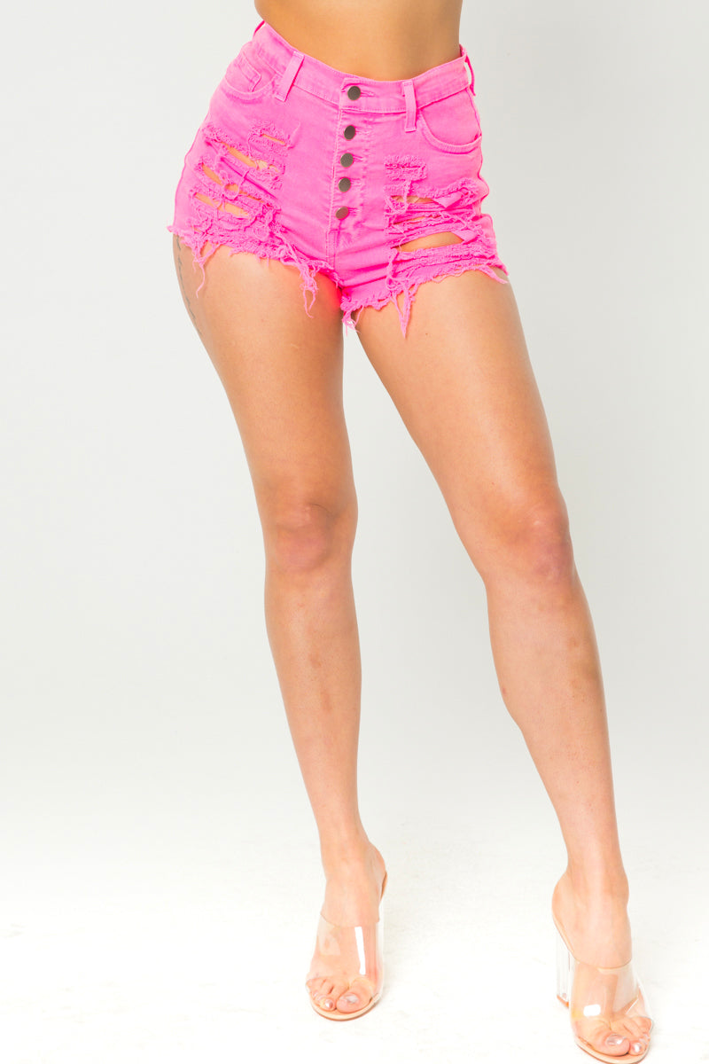 Neon Color Distressed Shorts - Fashion House USA