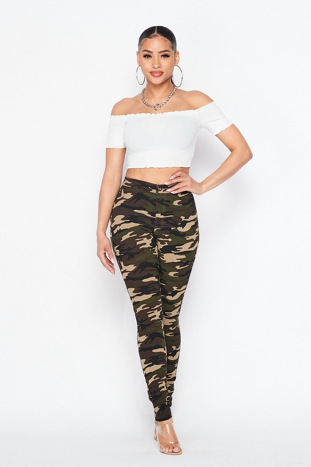 High Waist Super Stretch Skinny Pants-Camo