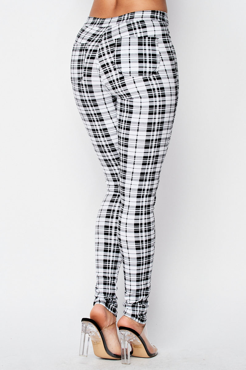 Plaid Skinny Pants in White - Fashion House USA