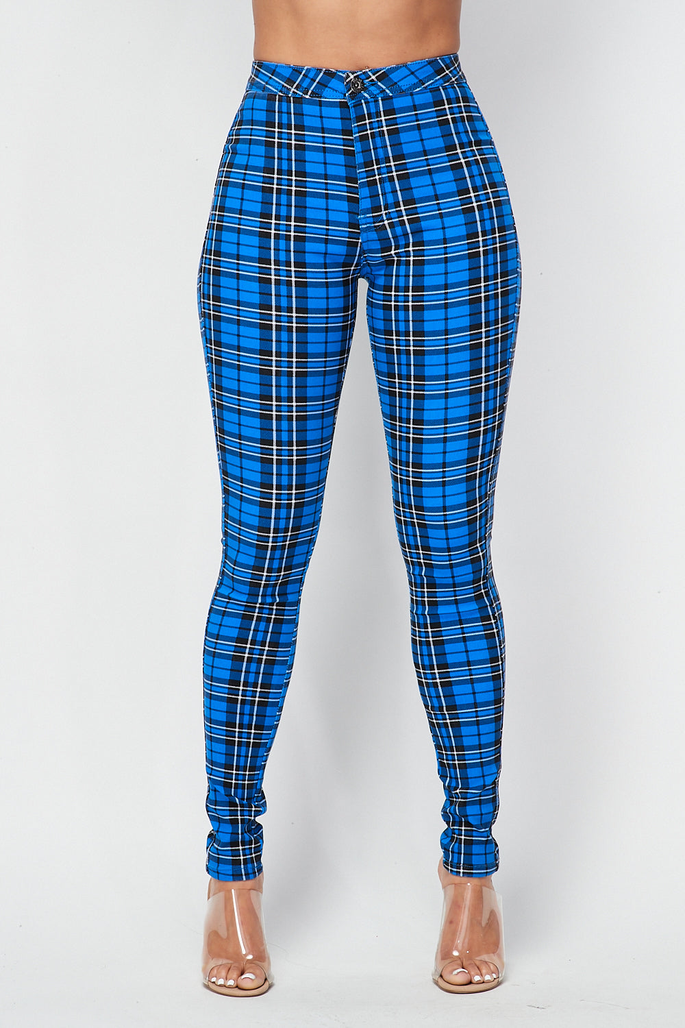 Plaid Skinny Pants in Blue - Fashion House USA