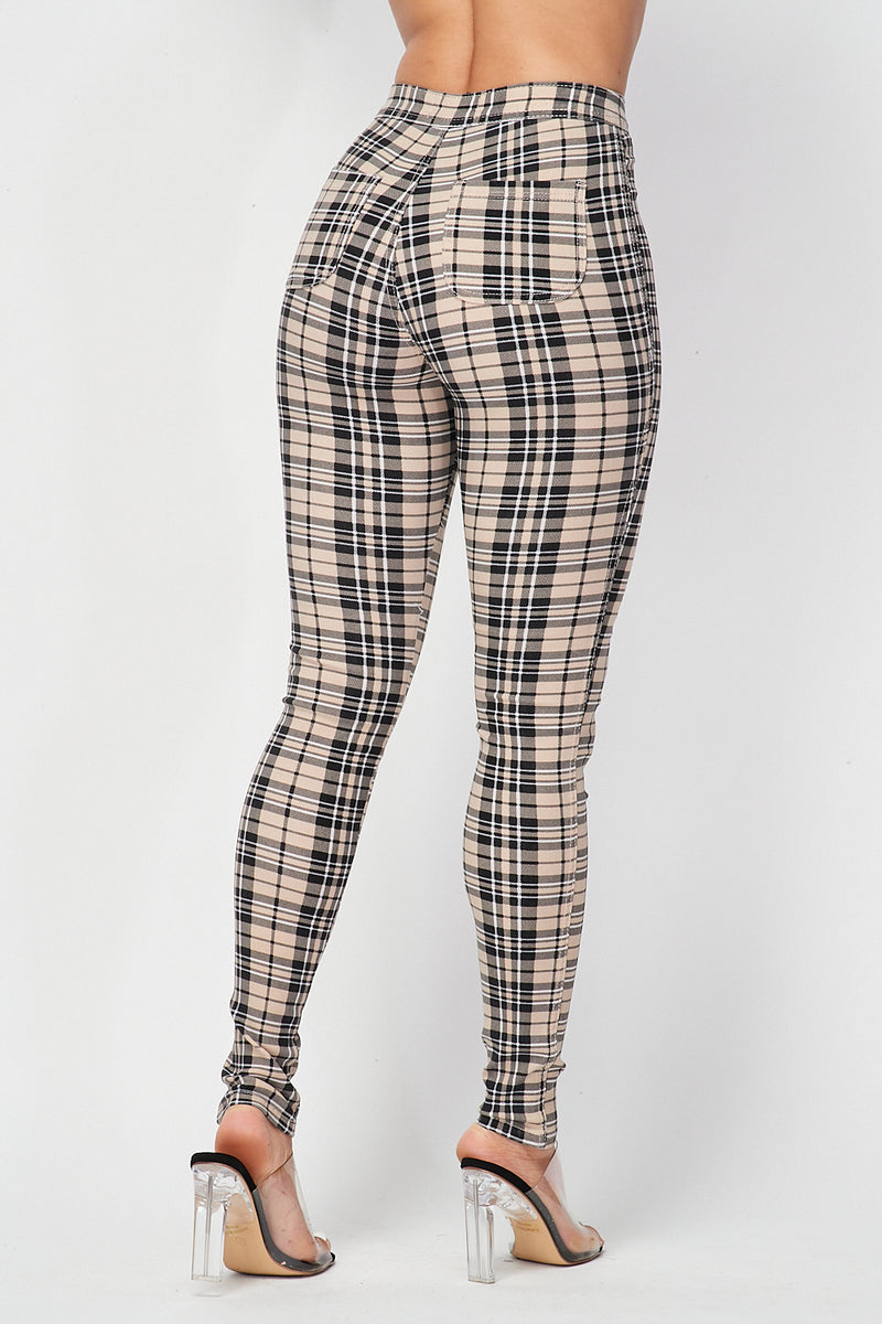 Plaid Skinny Pants in Khaki - Fashion House USA