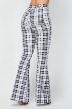 Plaid Bell Bottom Pants in White - Fashion House USA