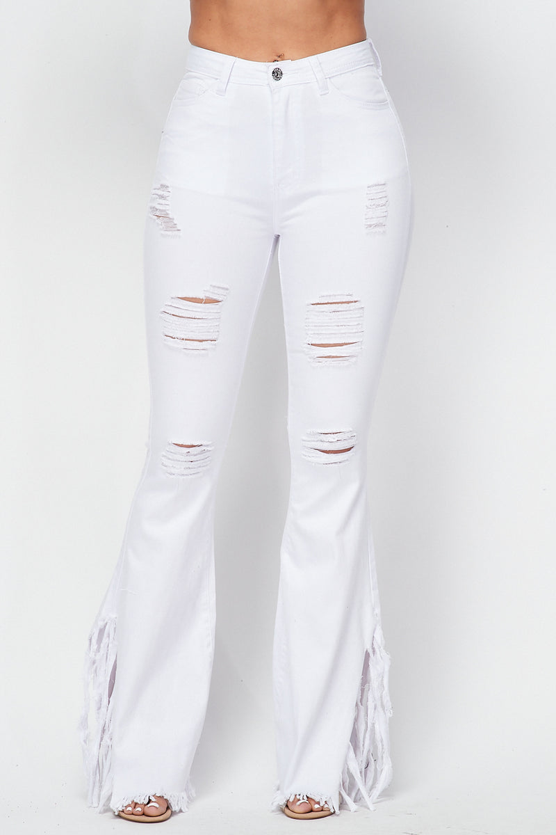 Distressed Bell Bottom Pants in White - Fashion House USA
