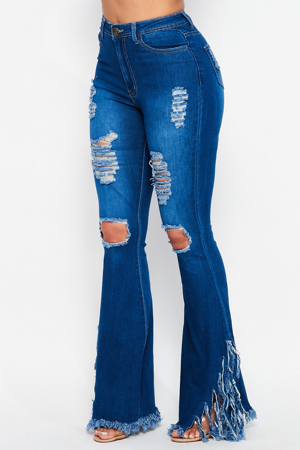 High Waist Front Distressed Side Flare Fringe Jeans in Medium Denim - Fashion House USA