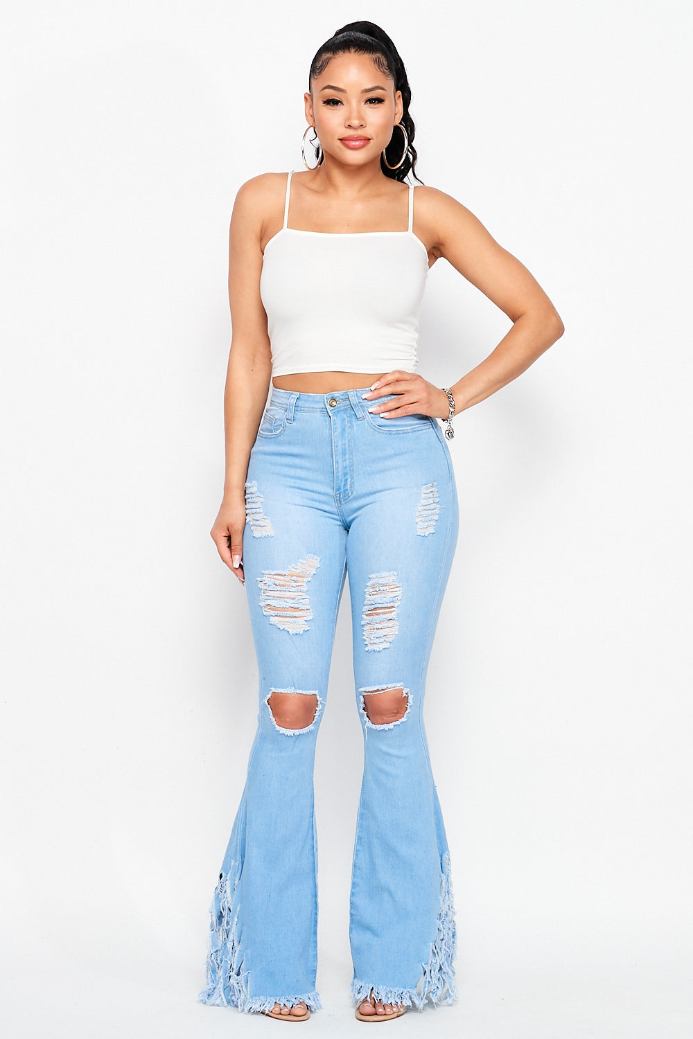 High Waist Front Distressed Side Flare Fringe Jeans in Light Denim - Fashion House USA