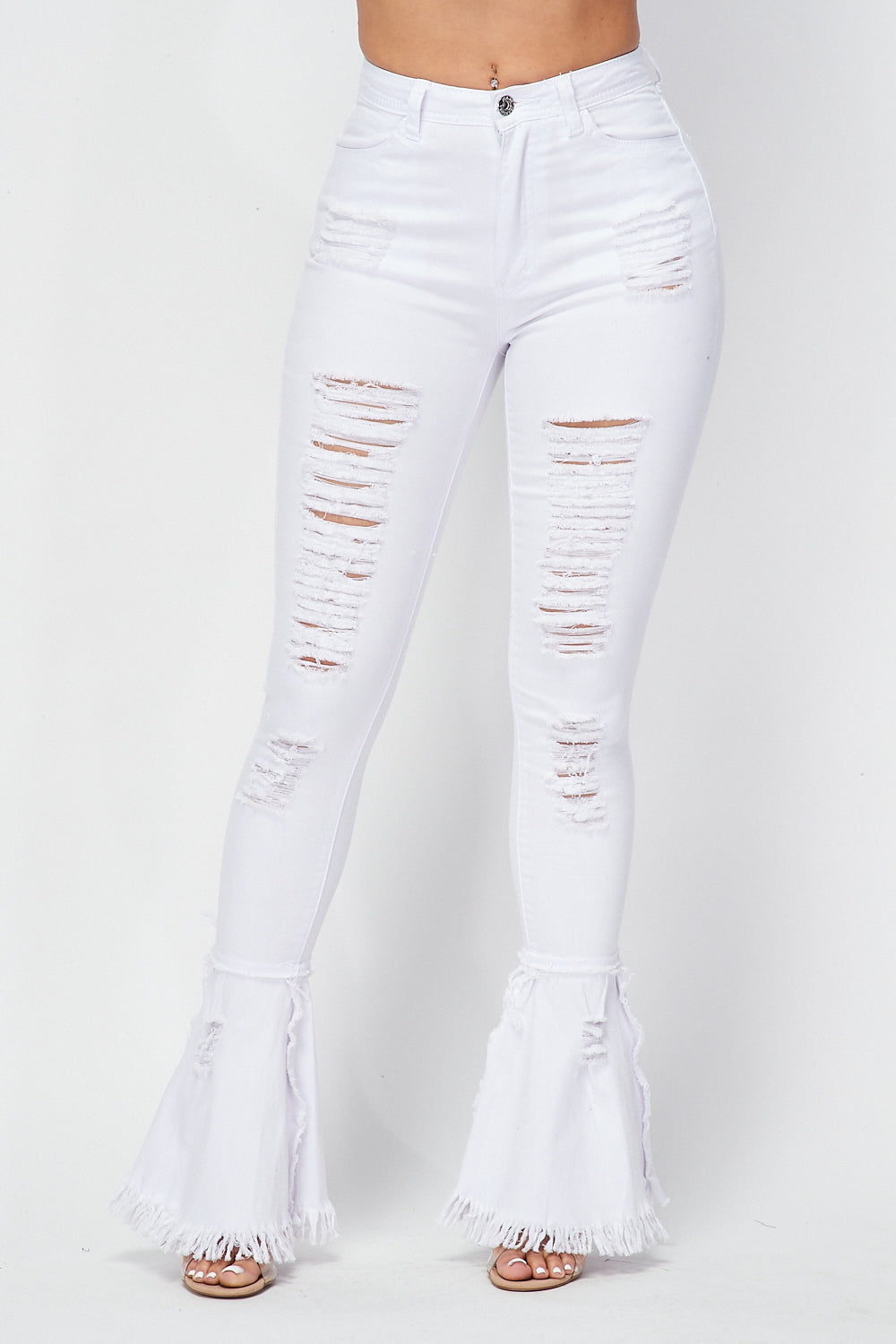 High Waist Destroyed Bell Bottom Pants in White - Fashion House USA