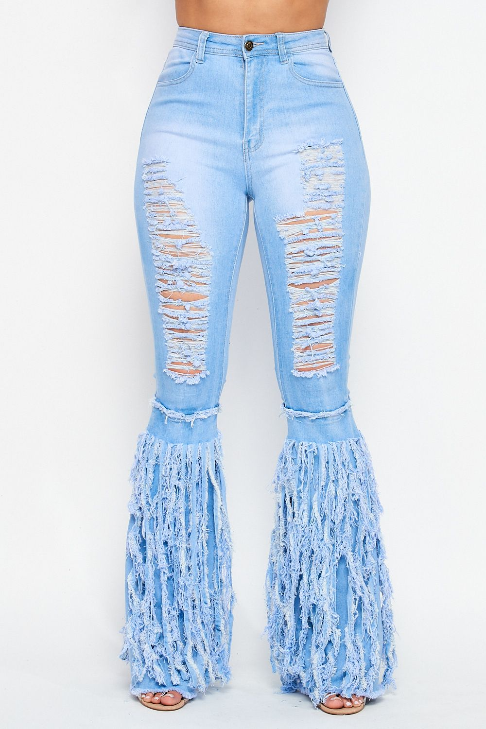 High Waist Fully Distressed Bottom Fringe Detail Jeans in Light Denim - Fashion House USA