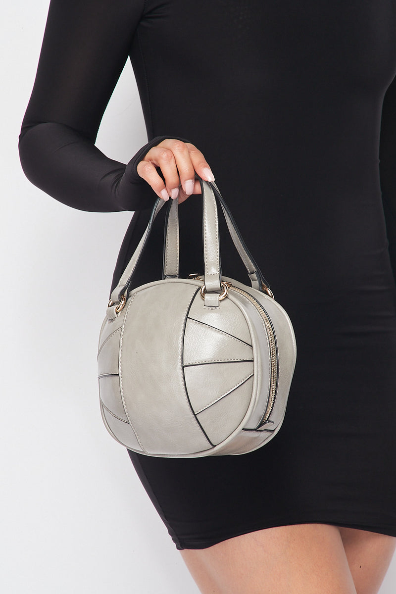 Faux Leather Ball Shaped Handbag in Grey - Fashion House USA