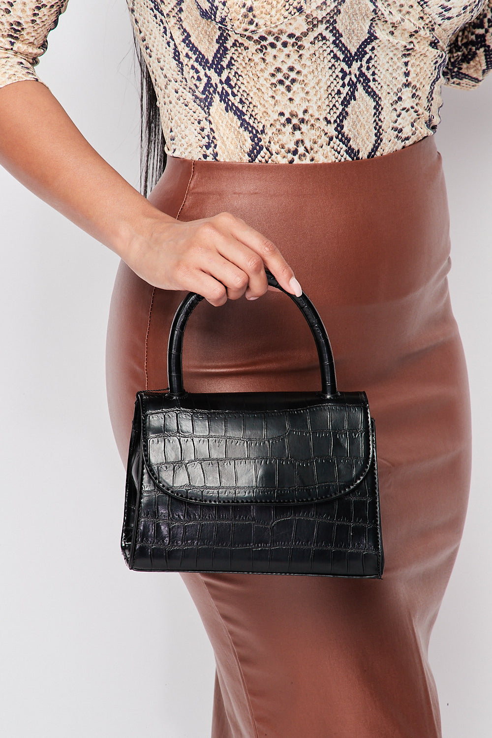 Croc Embossed Satchel Bag in Black - Fashion House USA