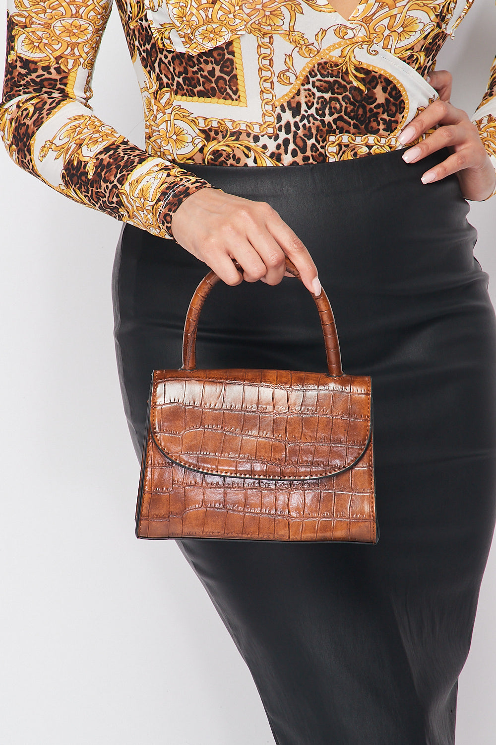Croc Embossed Satchel Bag in Brown - Fashion House USA