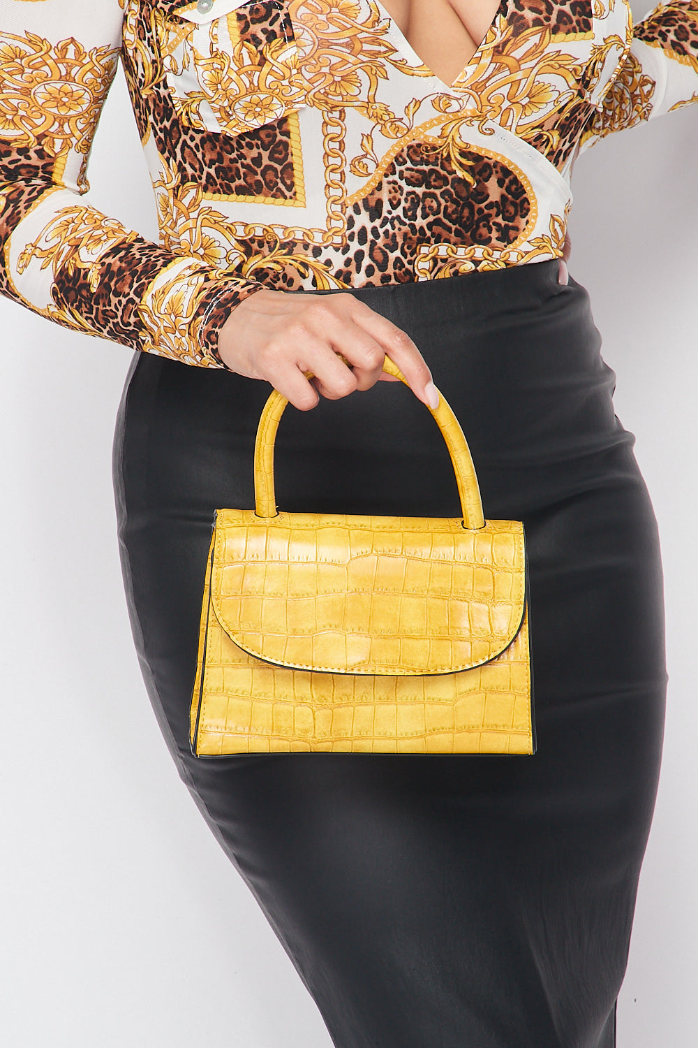 Croc Embossed Satchel Bag in Mustard - Fashion House USA