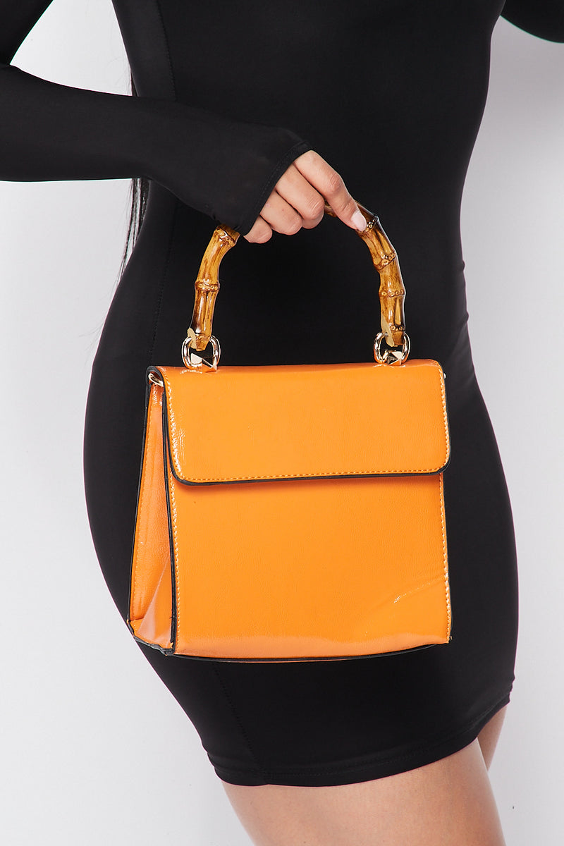 Wooden Handle Vixen Bag in Orange