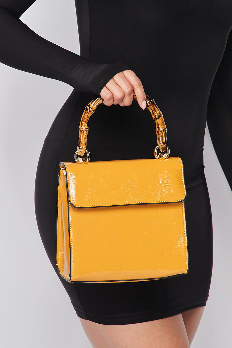 Wooden Handle Vixen Bag in Mustard - Fashion House USA