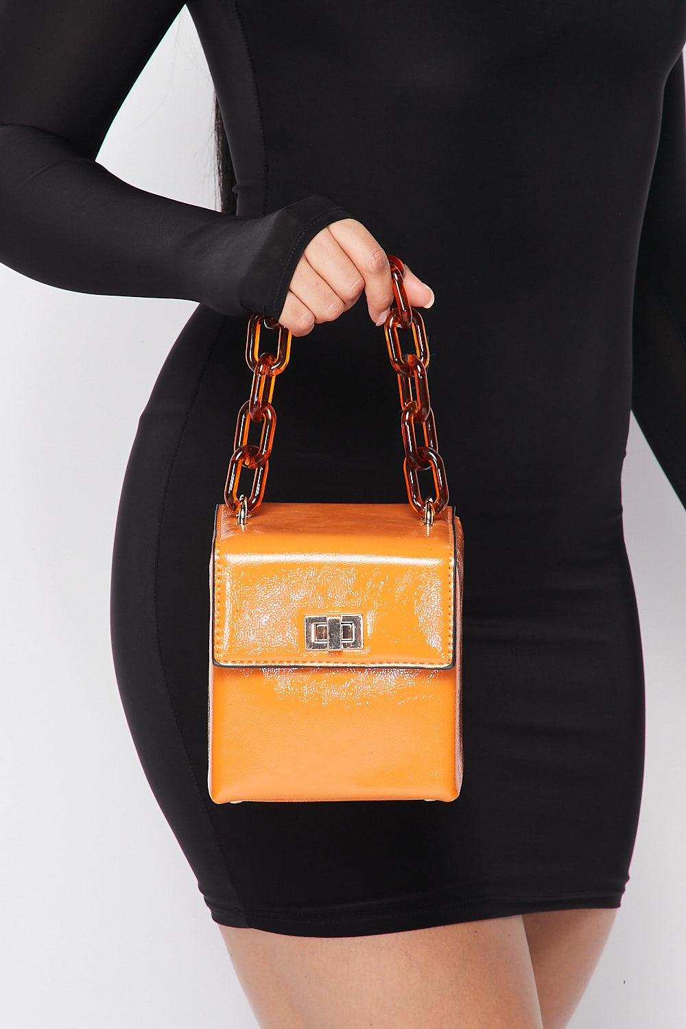 Box Purse with Acrylic Chain Handle in Orange - Fashion House USA