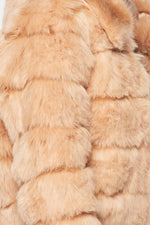 Luxe Fur Overcoat with Collar in Taupe