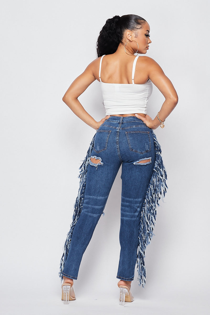 Sexy Fitted Denim Front and Back Cutout  with side Fringe - Fashion House USA