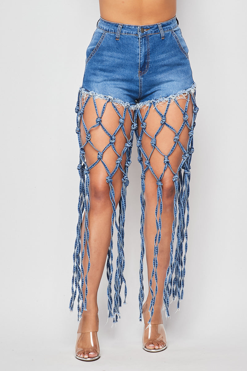 Sexy Fringe Detail Denim Shorts - Fashion House USA