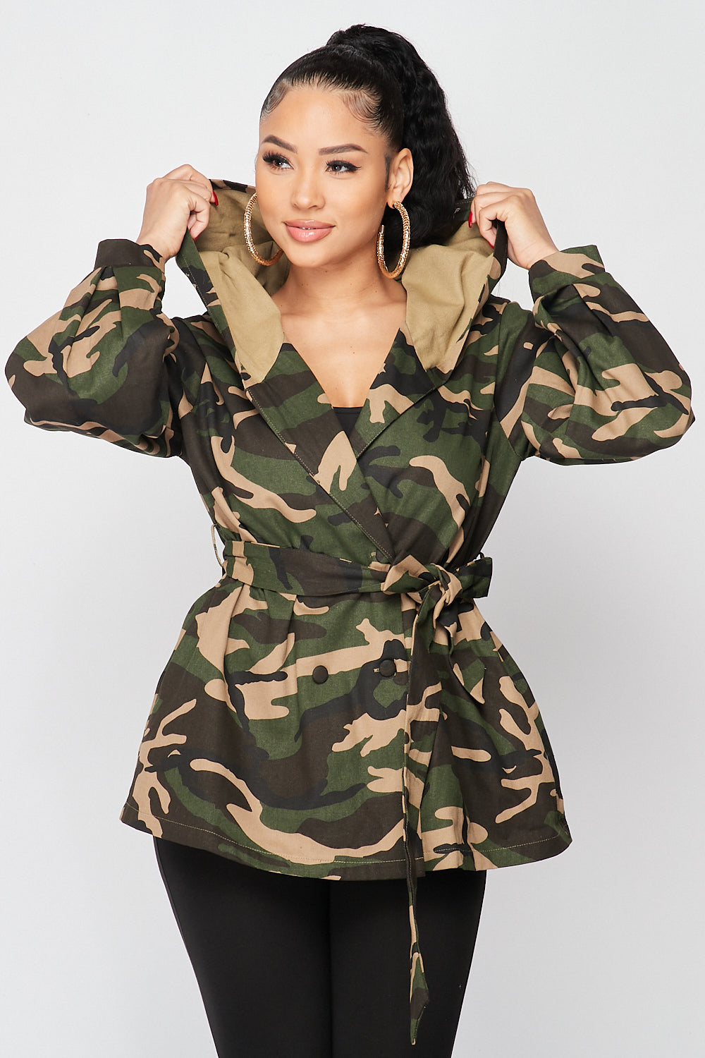 Hooded Camo Jacket with Waist Wrap Around - Fashion House USA