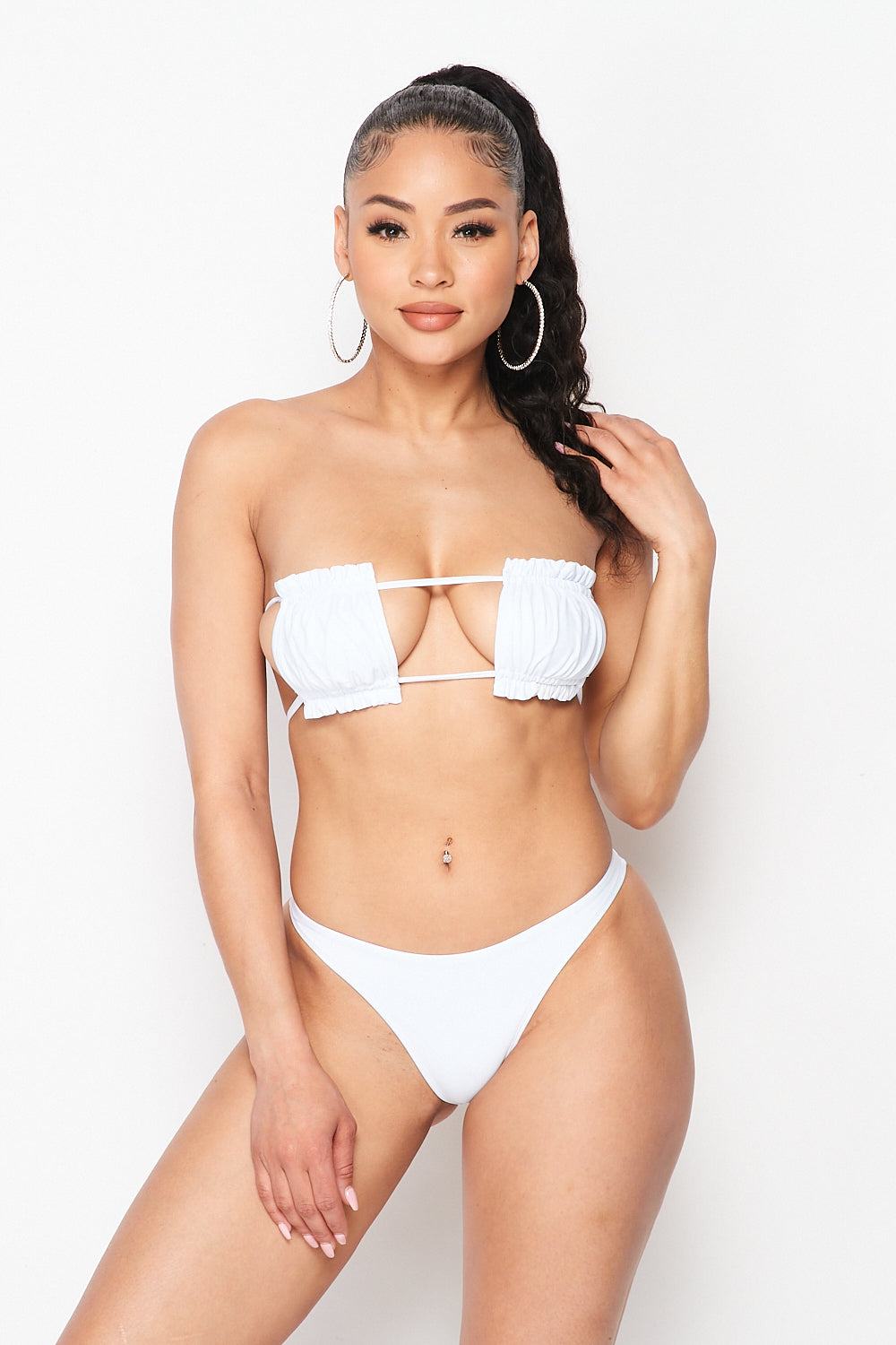 Ruched Lettuce Trim Bandeau Bikini Swimsuit Set in White - Fashion House USA