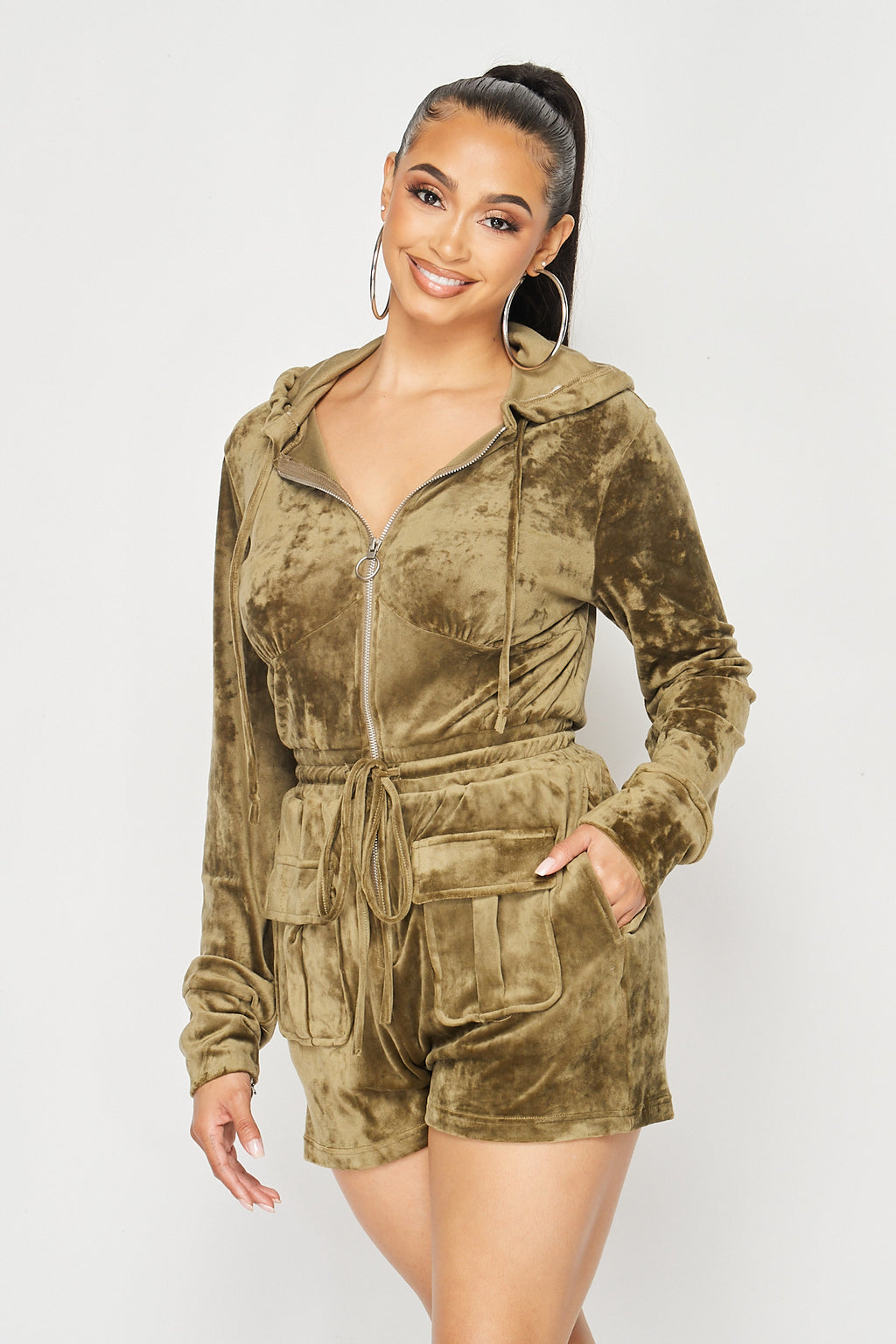 Velvet Hooded Romper with Front Zipper and Pocket Details in Olive - Fashion House USA