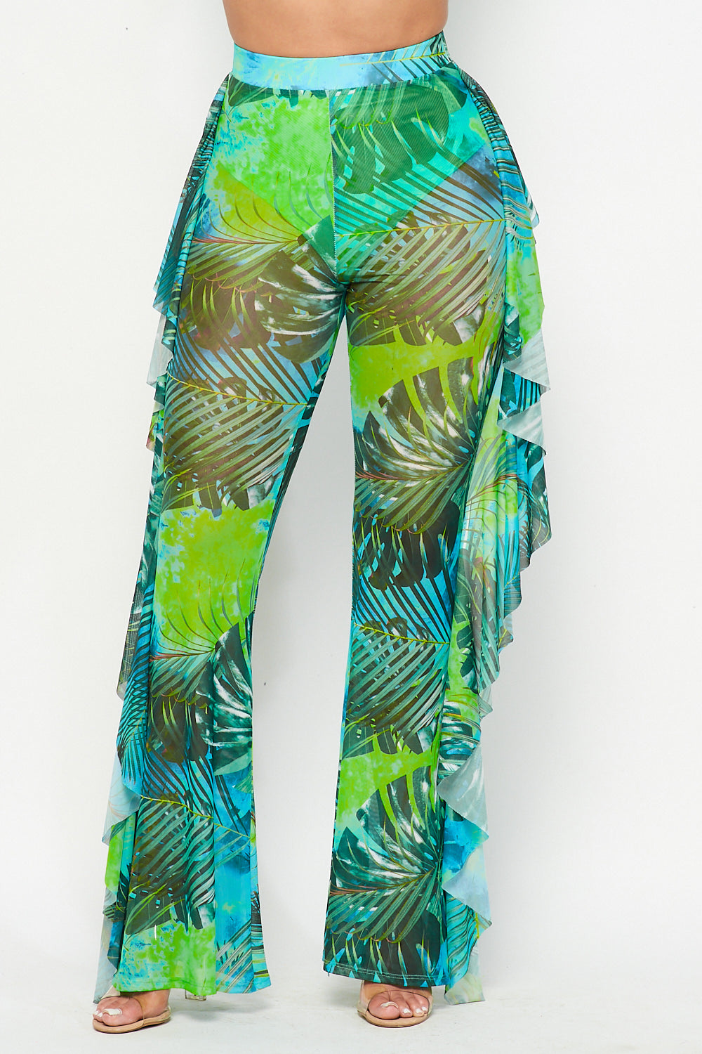 Tropical Side Ruffle Wide Leg Mesh Pants - Fashion House USA