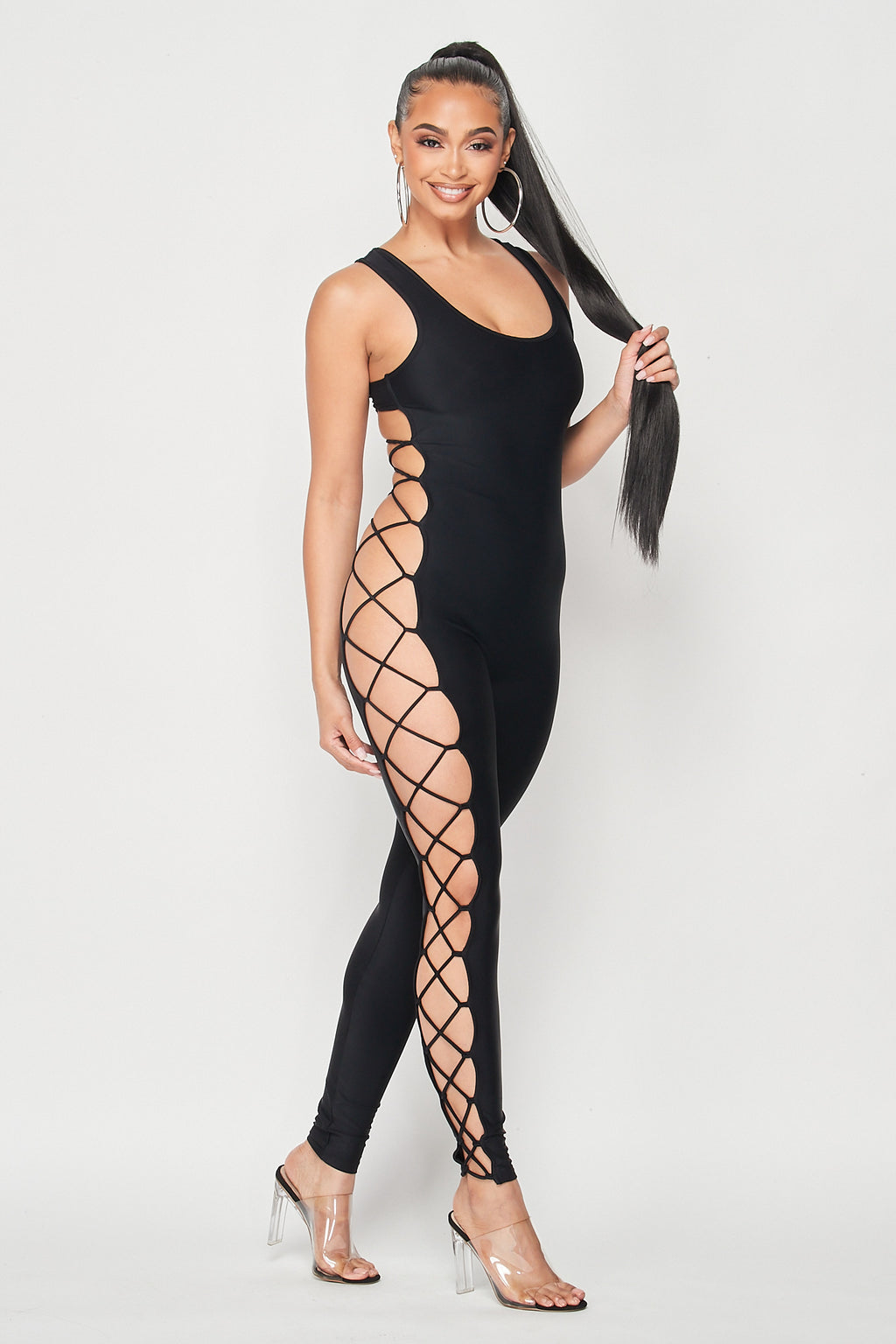 Open Side and Back Lace Up Jumpsuit in Black - Fashion House USA