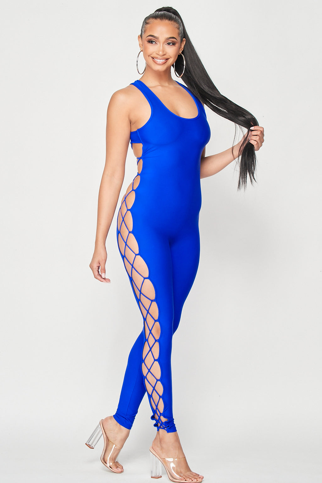 Open Side and Back Lace Up Jumpsuit in Royal