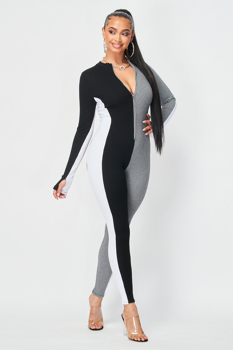 Vertical Three Color Block Jumpsuit with Zipper Front in Black - Fashion House USA