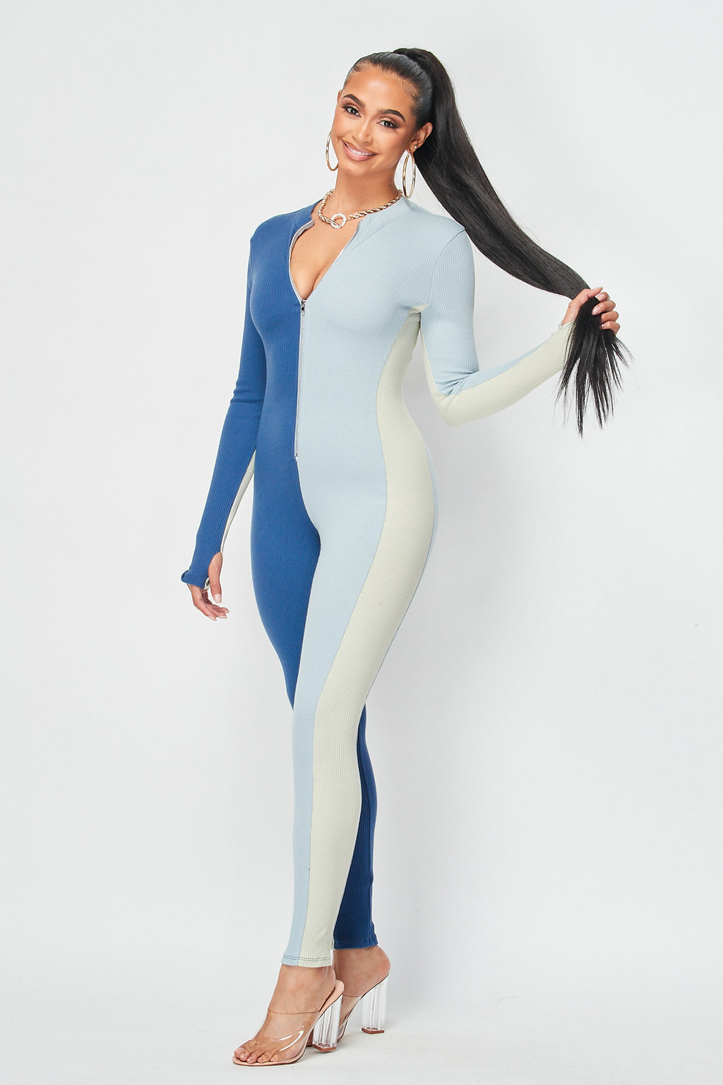 Vertical Three Color Block Jumpsuit with Zipper Front in Blue