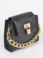 Mini Clutch W/ Oversize Chain And Lock-BLACK - Fashion House USA