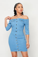 Off Shoulder Button Up 3/4 Sleeve Denim Dress - Fashion House USA