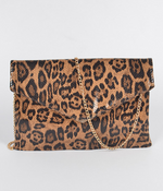 Leopard Print Cross Chain Body Clutch - Fashion House USA
