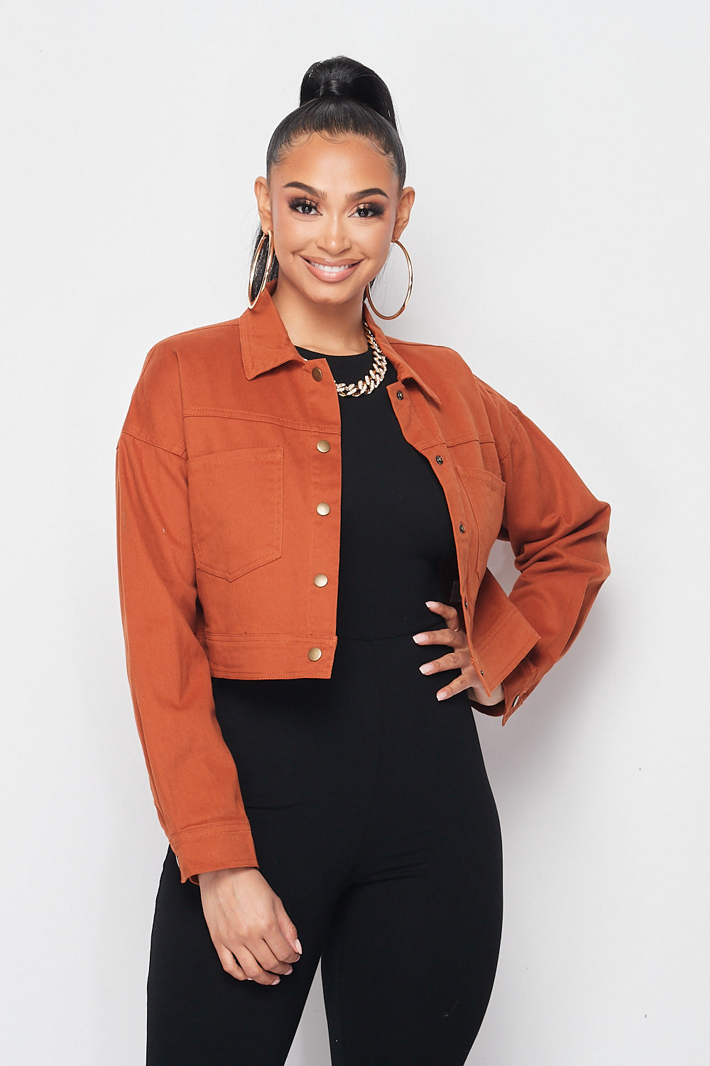 Solid Denim Jacket in Rust - Fashion House USA
