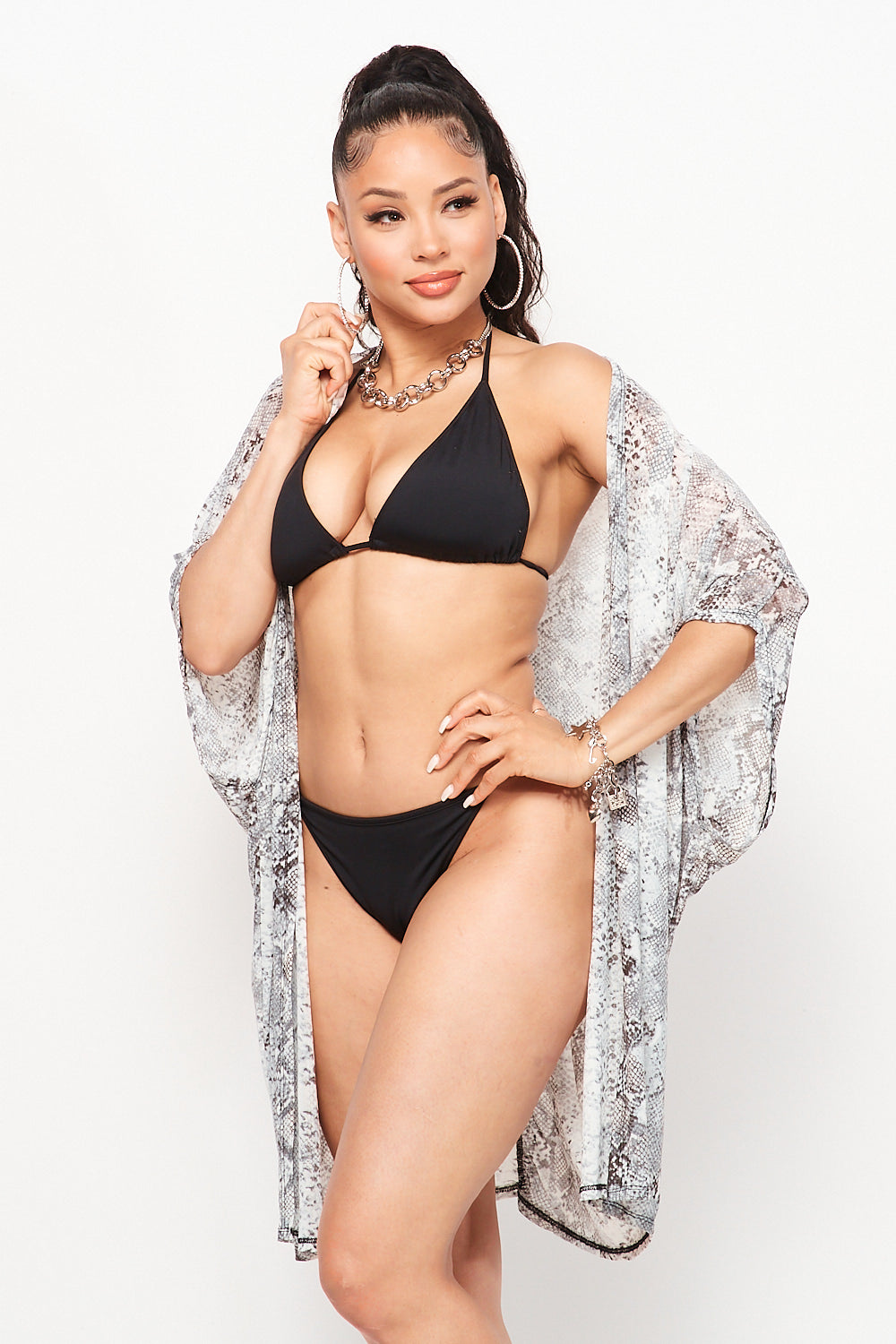 Snake Print Swimsuit Cover Up in Black