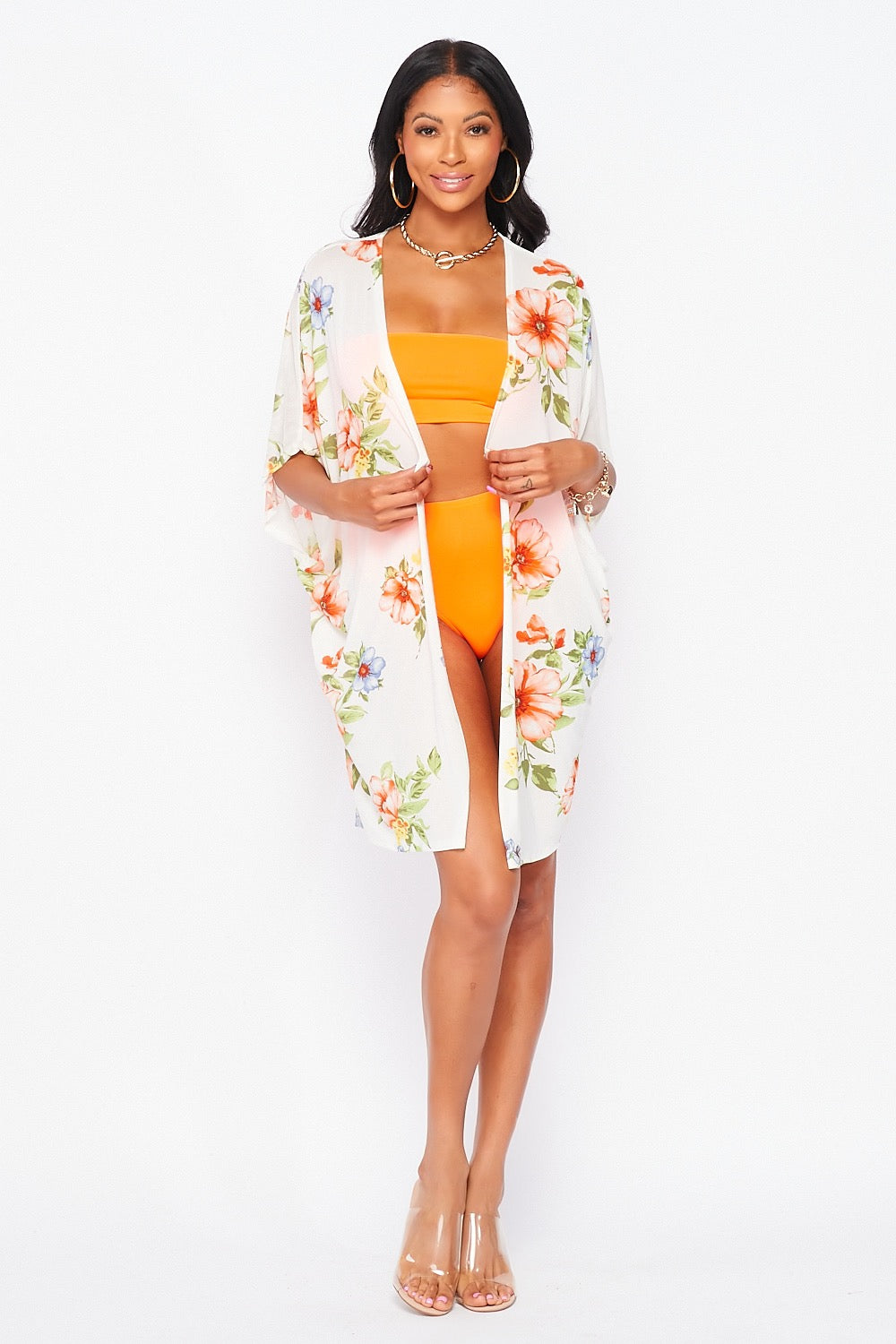 Flower Print Swimsuit Cover Up in Ivory